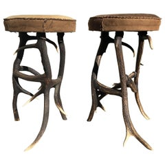 Pair of Antler Legs Round Stools, Americana