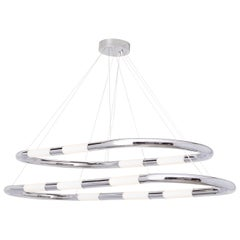 Nuage Polished Chrome and White Sandblasted Glass Shade Double Pendant Light