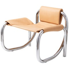 Coda Polished Chrome Frame with Cushioned Leather Sling Chair