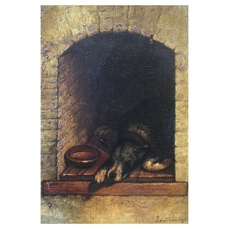 19th Century Slumbering Pooch Oil on Canvas 1907 Manner of Edwin Landseer For Sale