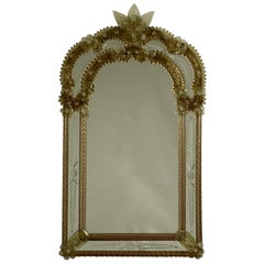 Smokey Topaz Venetian Glass Mirror, Italy, circa 1950