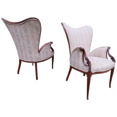 Pair Grosfeld House Hollywood Regency Mahogany Lounge Armchairs Dorothy Draper