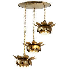 Midcentury Brass Lotus Pendant Chandelier by Feldman Lighting Co.