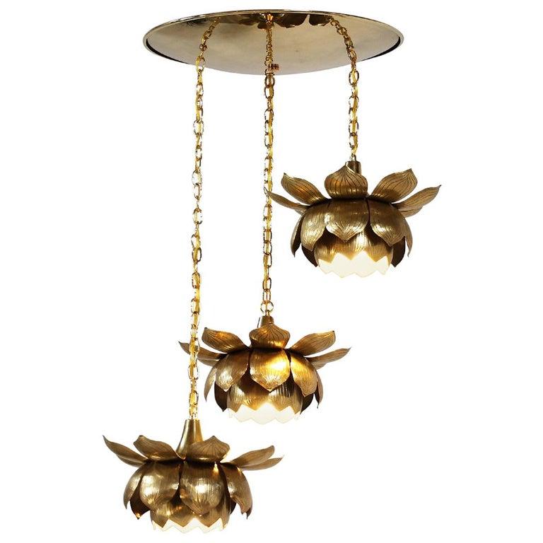 Midcentury Brass Lotus Pendant Chandelier by Feldman Lighting Co. For Sale