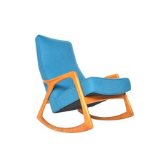 Danish Oak Rocking Chair in Blue Wool