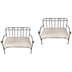 Pair of Outdoor, Indoor J-Art Iron Co Settees with Lion Heads
