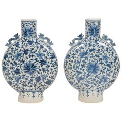 Pair of Chinese Blue and White Moon Flasks Hand Painted Qing Dynasty, circa 1880
