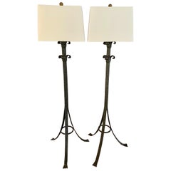 Pair Wrought Iron Floor Lamps