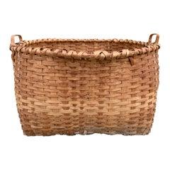 Monumental 19th Century American Oak Splint Basket