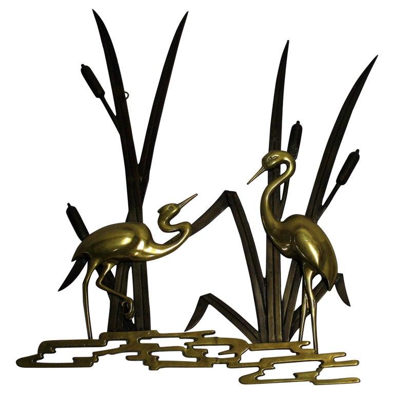 Vintage Brass Bird Sculpture, 1970s For Sale