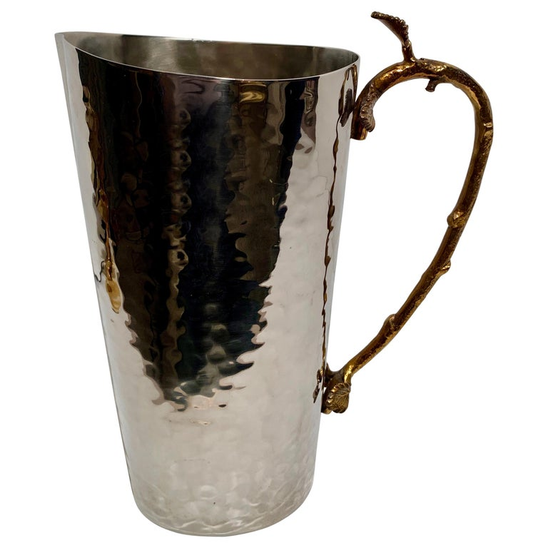 Godinger Hammered Pitcher with Brass Leaf and Twig Handle For Sale