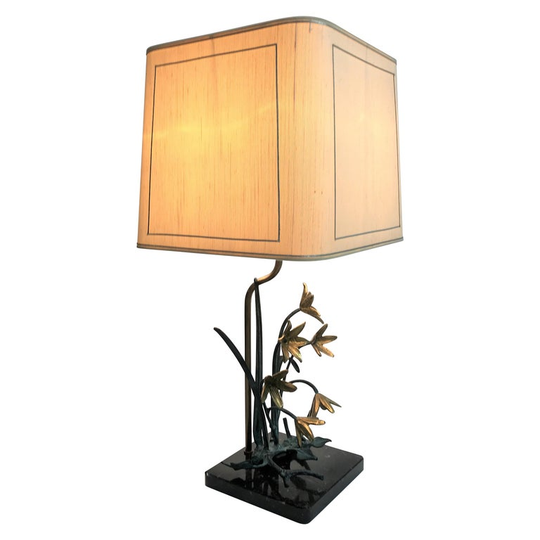 Bronze Flower Table Lamp, 1970s For Sale