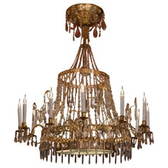 Large Chiseled Gilt Bronze and Cut Crystal Chandelier, Early 19th Century