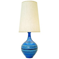 Aldo Londi for Bitossi 'Rimini Blue' Pottery Table Lamp, 1960s