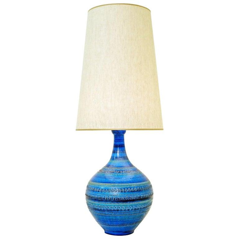 Aldo Londi for Bitossi 'Rimini Blue' Pottery Table Lamp, 1960s For Sale