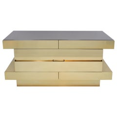 L.A. Studio Contemporary Modern Wood and Brass Italian Sideboard