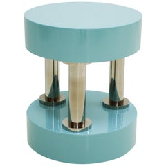 Contemporary Blue Lacquered and Polished Steel German Circular Side Table