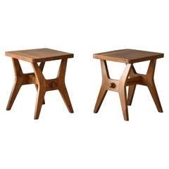 Italian modernist designer, Functionalist Oak stools, Italy, 1950s