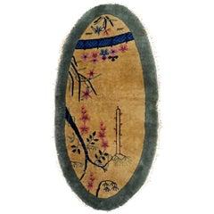 Handmade Antique Art Deco Chinese Rug, 1920s, 1B761