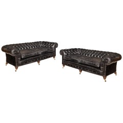 Pair of Victorian Three-Seat Walnut Chesterfield Sofas