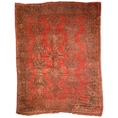 Handmade Antique Turkish Oushak Rug, 1900s, 1B764