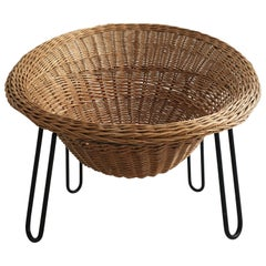 French Rattan Cone Basket Lounge Chair, France, 1950s