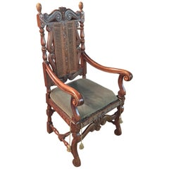 Baroque Throne Armchair Fully Carved with Crown, circa 1880