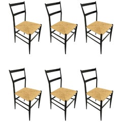 Gio Ponti Vintage Superleggera Set of Six Dining Chairs Cassina, Italy, 1958