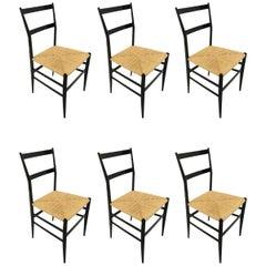 Gio Ponti Vintage Superleggera Set of Six Dining Chairs Cassina, Italy, 1958