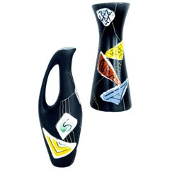 German Modernist Hand Painted Ceramic Pitcher 'small' 'Morroco' Design, 1950s