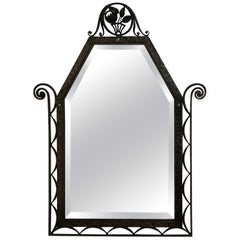 Charles Piguet Art Deco Wrought Iron Wall Mirror, circa 1930