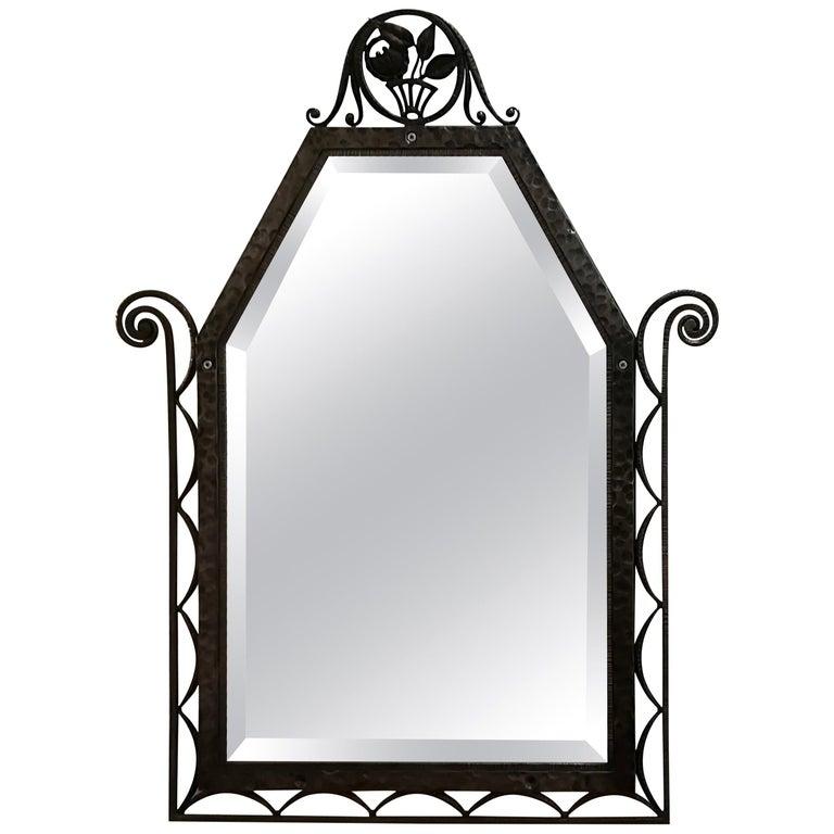 Charles Piguet Art Deco Wrought Iron Wall Mirror, circa 1930