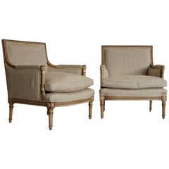 Pair of 1920s French Painted Marquise Armchairs