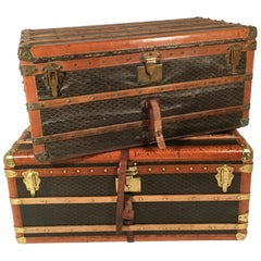 Goyard Steamer Trunk Set of Two from the Princely House of Thurn and Taxis, Pair