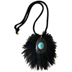Tom Ford Lisa Eisner Turquoise and Feather Runway Statement Necklace