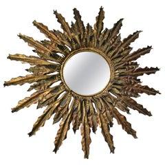 Gilded Metal Sunburst Mirror, 20th Century