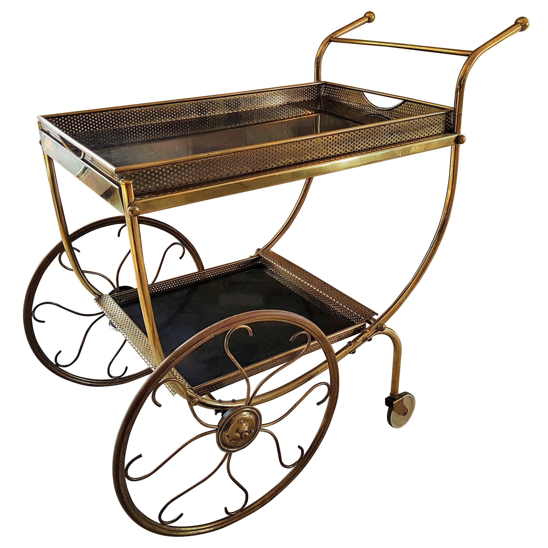Midcentury Brass Bar Cart by Josef Frank for Svenskt Tenn, Sweden, 1950s
