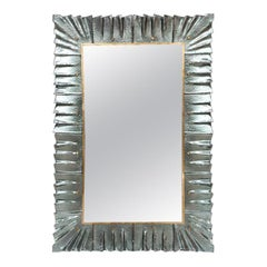 Contemporary Mirror Sea Green Murano Glass Framed, In Stock