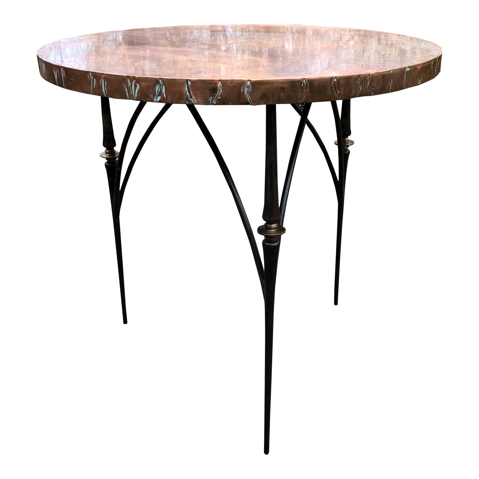 Contemporary Round Copper Center Dining Table