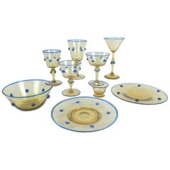 Venini Vittorio Zecchin Art Glass Service Set, Murano, Italy