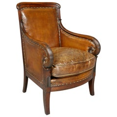 Regency Mahogany and Leather Upholstered Bergere