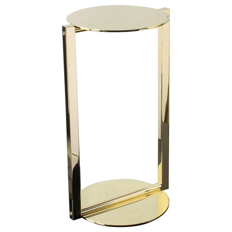 Untitled Side Table 2.0 Polished Brass Small Round Accent, End or Drink Tray For Sale