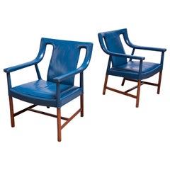 Pair of Danish Blue Leather Armchairs by Ejner Larsen and Aksel Bender Madsen