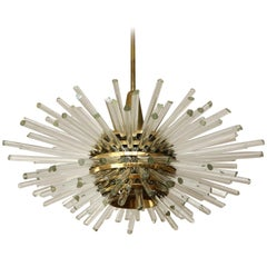 Sputnik Chandelier 'Miracle', Brass Glass Rods, Bakalowits, 1960s, 1 of 2