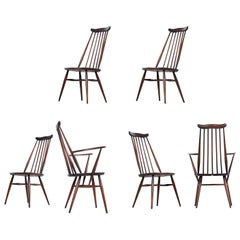 Ercol Chairs, Set of 6 Classic English Midcentury Spindle Back Windsor Chairs