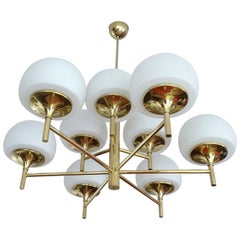 Large Jakobsson Brass Sputnik Chandelier Pendant Light, Stilnovo Gio Ponti Era