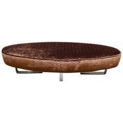 Bronzed Brown Velvet Oval Bench Chromed Legs, Italian Design, 1970s