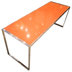 20th Century Per Arnoldi Style Orange Quartz and Steel Italian Table, circa 1970