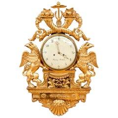 Late 18th Century Swedish Gustavian Giltwood Cartel Clock by Henrik Beurling