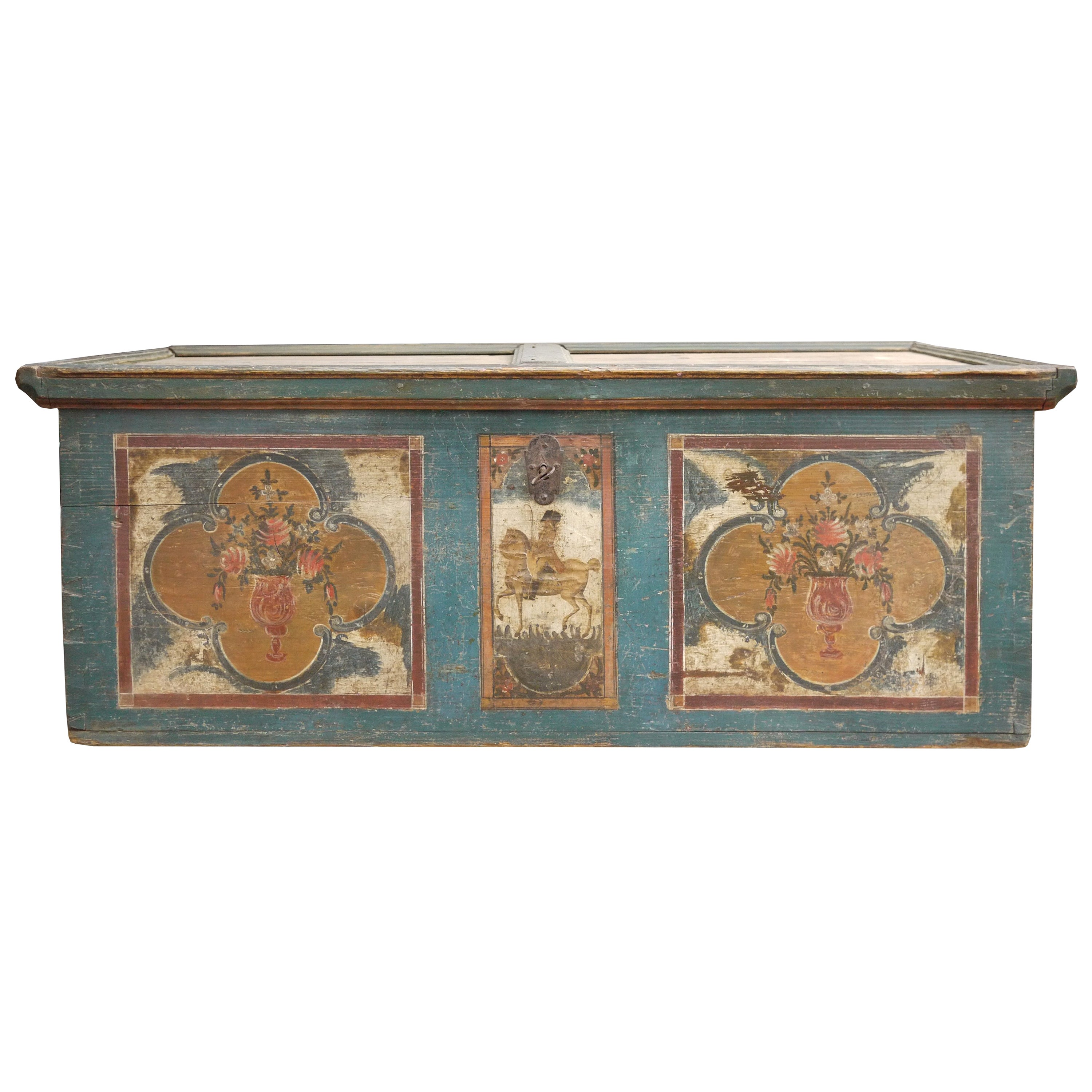 1800 Blu Floral Painted Blanket Chest